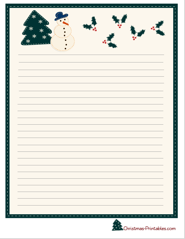 Stationery Printable Featuring Snowman And Mistletoe. Stationary ...  Printable Letter Paper With Lines