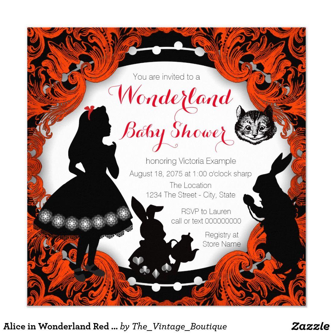 Alice in Wonderland Red and Black Baby Shower Card   Black babies ...