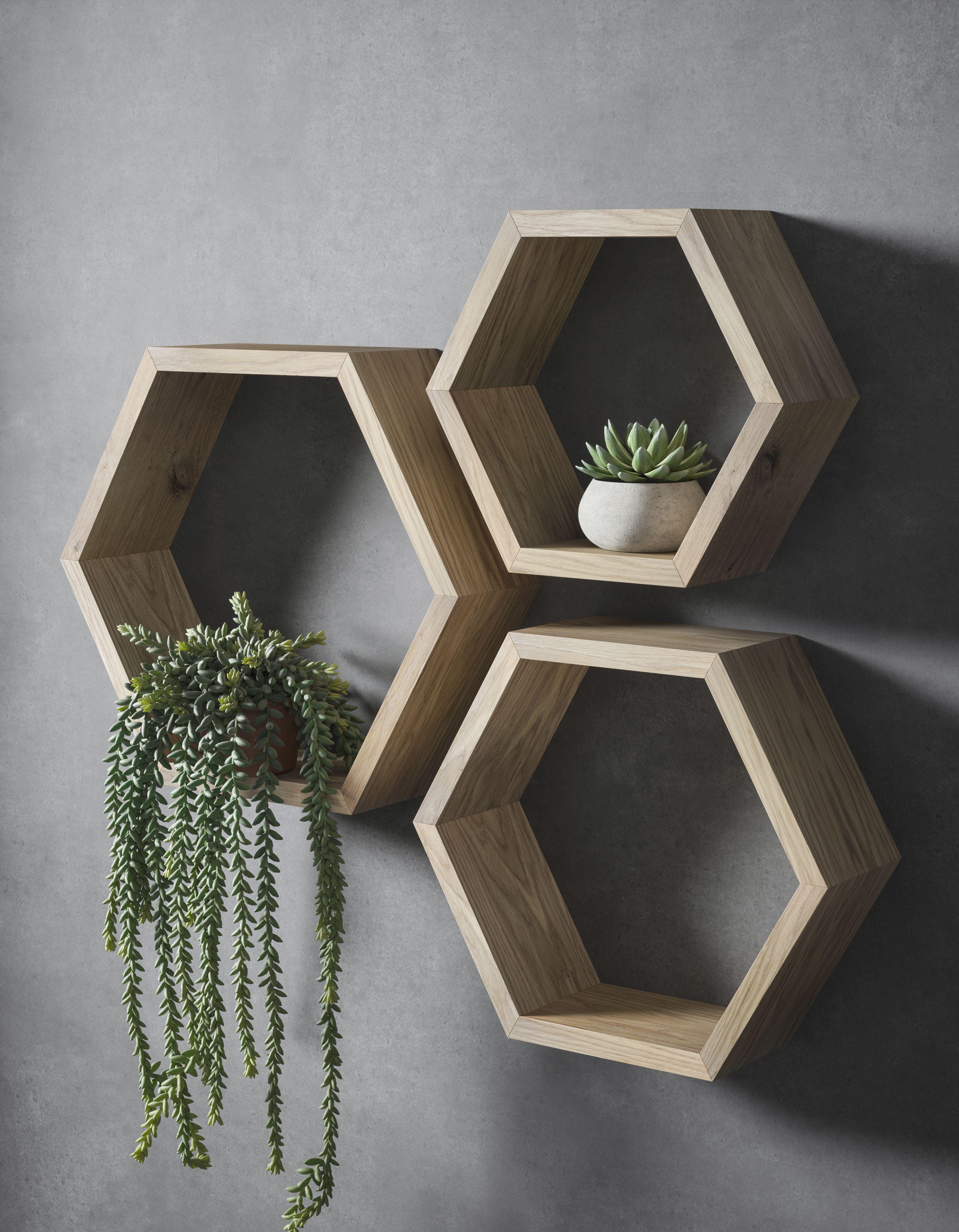 Hexagon Shelves Set Hexagon Shelf Set Geometric Shelf Etsy