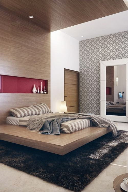 Modern Bedroom Design Ideas   The Amazing Custom Bed Frame Is Certainly The  Focal Point Of This Bedroom, Which Also Features A Cool Accent Wall And  Shiny ...