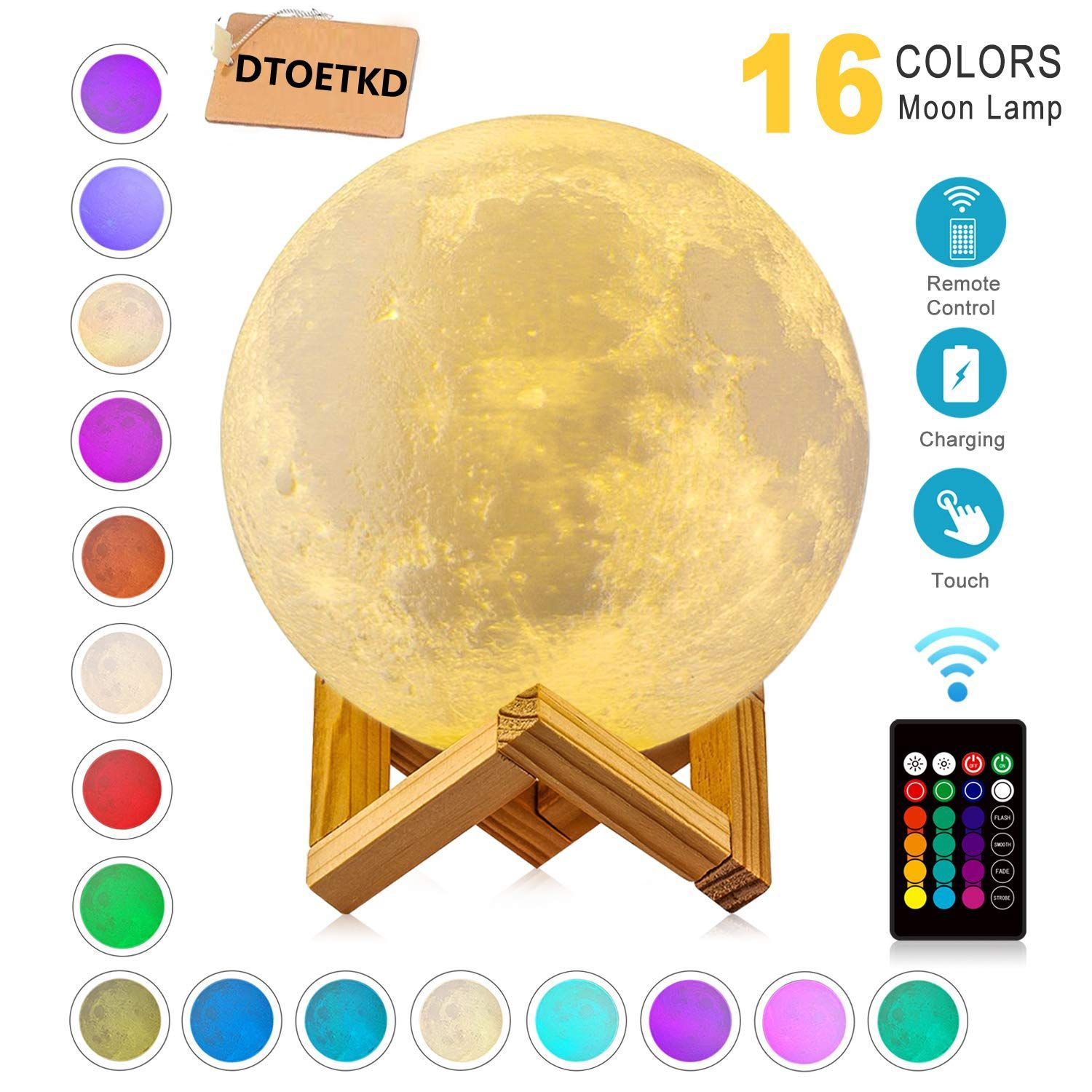 Moon Lamp Night Light 3d Printing 16 Colors Moon Lights With Stand And Remote And Touch Control And Usb Rechargeable Diam In 2020 Led Night Light Night Light 3d Light
