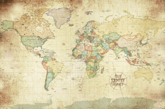 Vintage Looking World Map.Custom Map World Map Poster World Map Wall Art Vintage Map Style