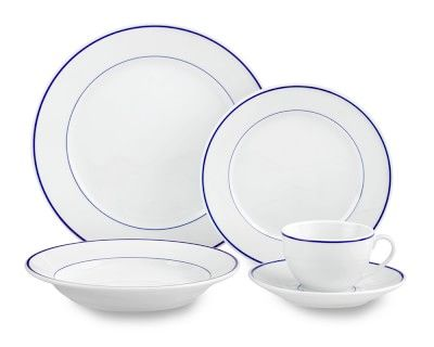 Apilco Tradition Blue Banded Porcelain Dinnerware Sets With