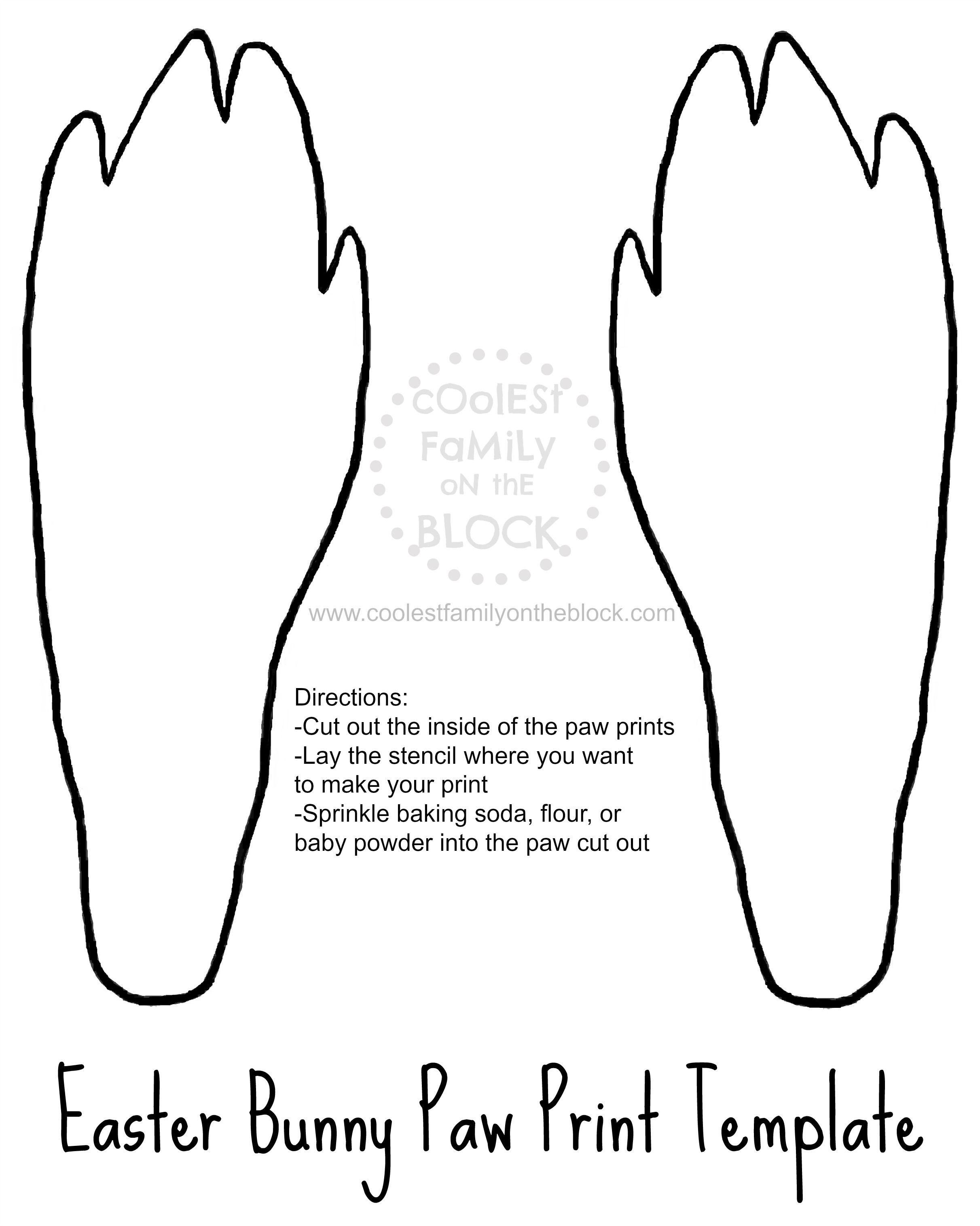 image regarding Printable Easter Bunny Footprints identify No cost Printable Easter Bunny Paw Prints Template: Back again Paws