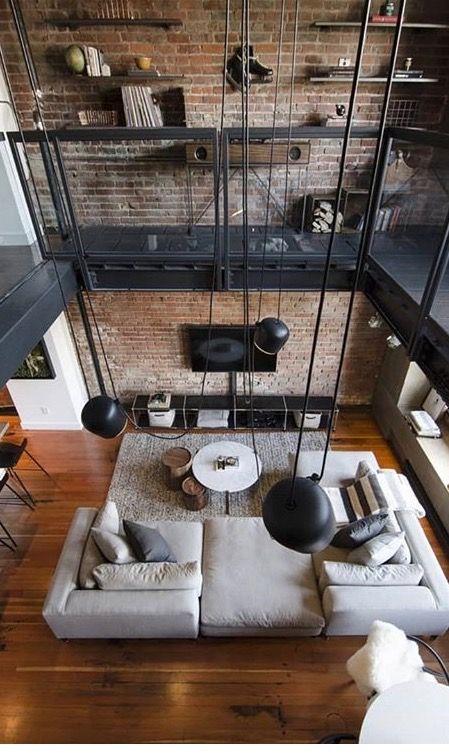 Industrial loft. Exposed brick, | L I V I N G . | Salon ...