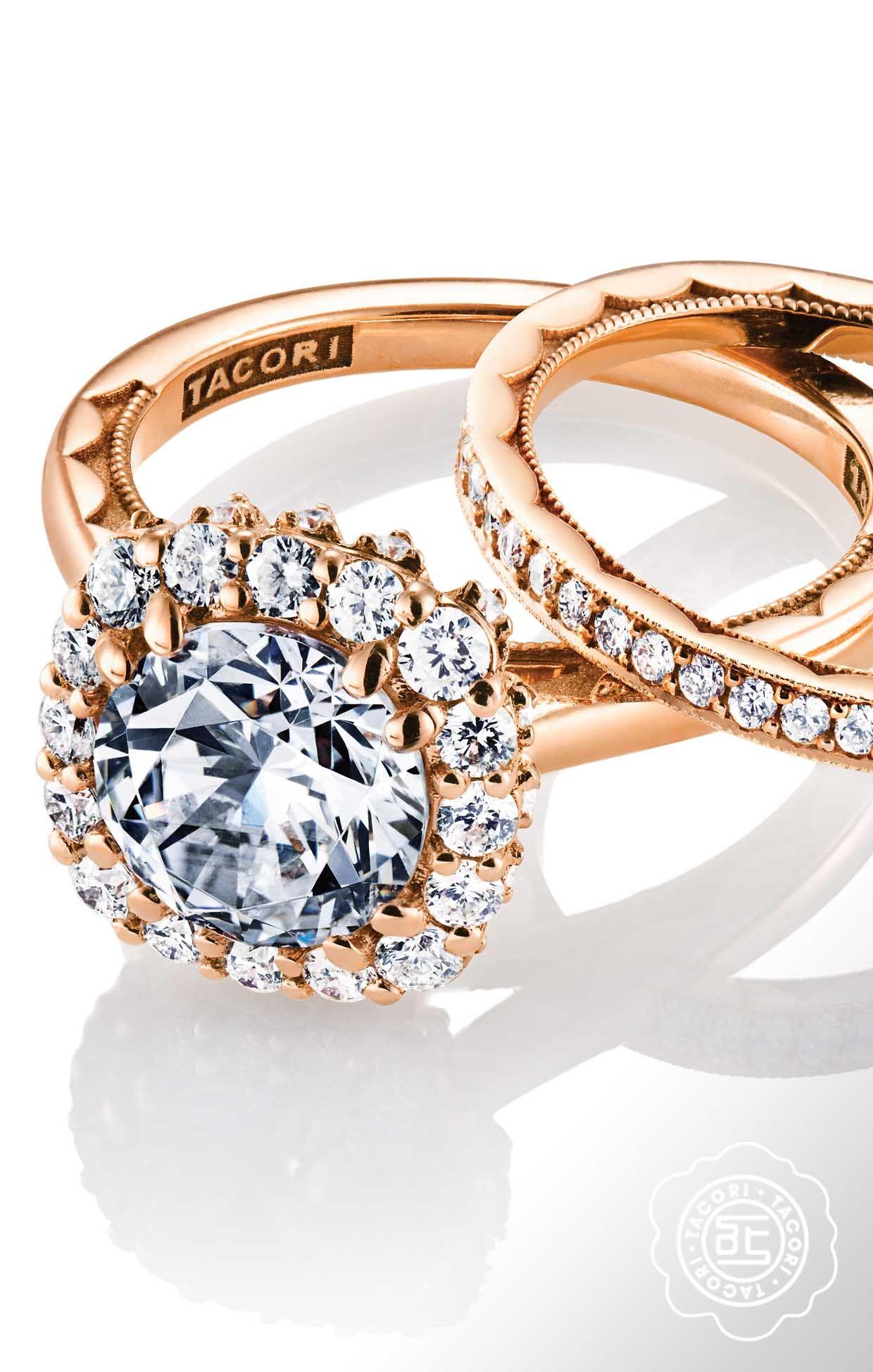 Sculpted crescent rose gold engagement ring tacori