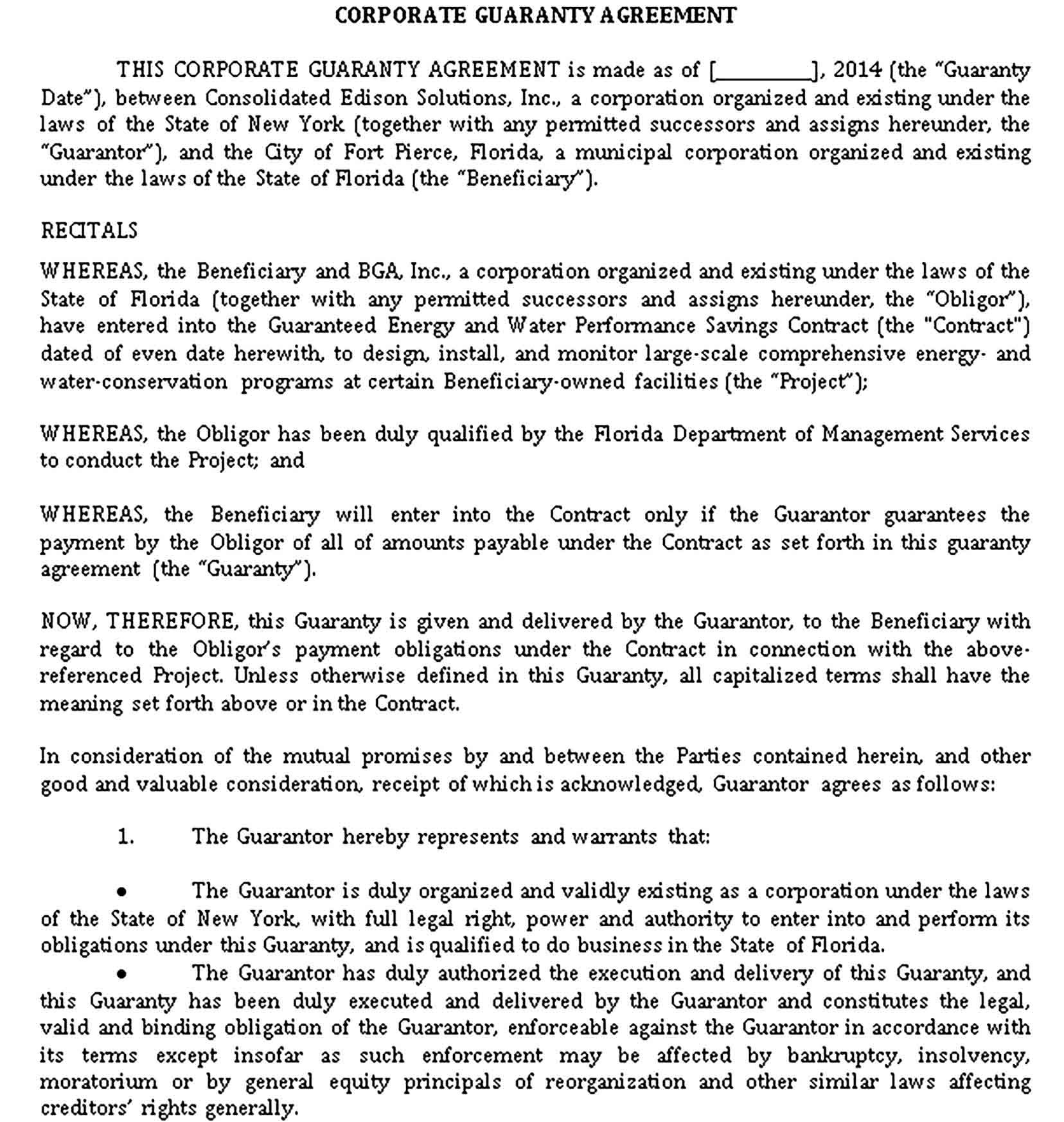 Guaranty Agreement Templates Sample Agreement Templates Success Business