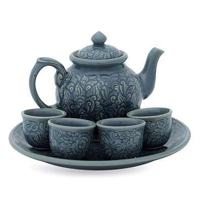 Celadon ceramic tea set, 'Botanical Heaven' (set for 4) #teasets