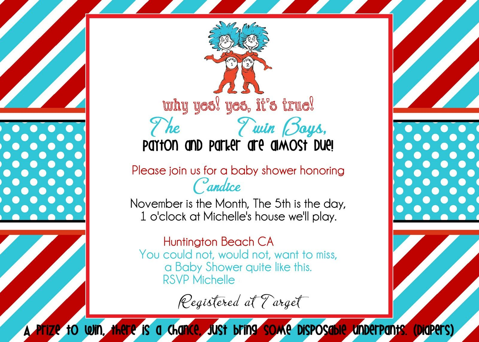 Party Invitation Diapers In The Desert Dr Seuss Thing 1 Thing 2 ...