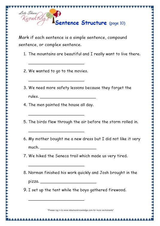 Grade 3 Grammar Topic 36 Sentence Structure Worksheets Teaching
