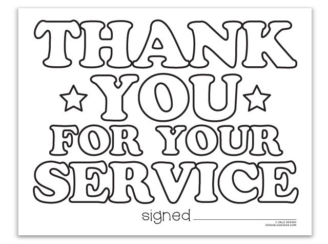 Thank You For Your Service Vale Design Coloringpages Coloringsheets Military Veterans Day Coloring Page Free Veterans Day Memorial Day Coloring Pages
