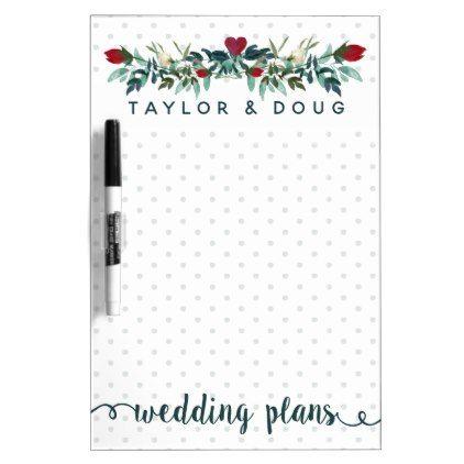Wedding Plans Watercolor Winter Wedding Wreath Dry-Erase Board