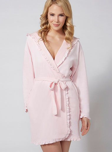 Frill Hooded Robe Candy Pink Boux Avenue Underwearpyjamas