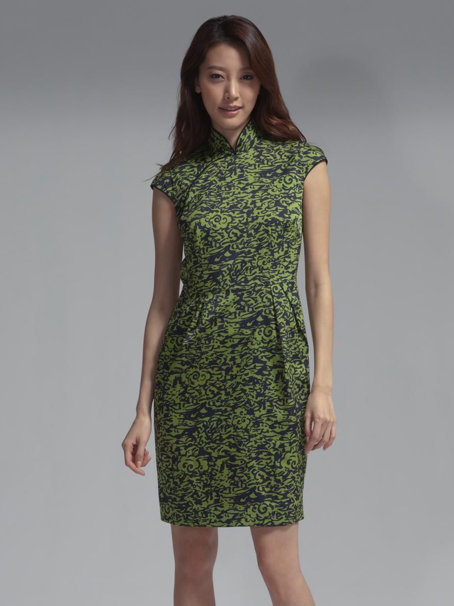 Cloud\' print silk blend Qipao dress By Shanghai Tang | Shanghai Tang ...