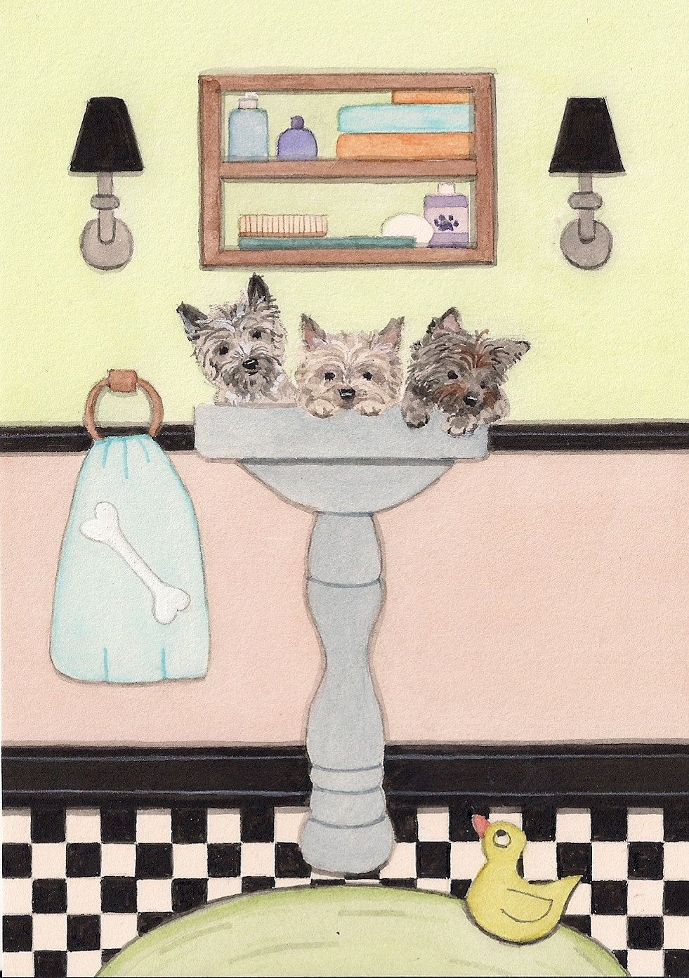Cairn terrier puppies fill sink at bath time / Lynch signed folk art print by watercolorqueen on Etsy