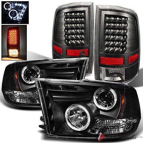 For 2009 2017 Dodge Ram 1500 2010 2017 Ram 2500 3500 Black Halo Projector Headlights Led Tail Lights 20 Projector Headlights Ram 1500 Ram Trucks Accessories