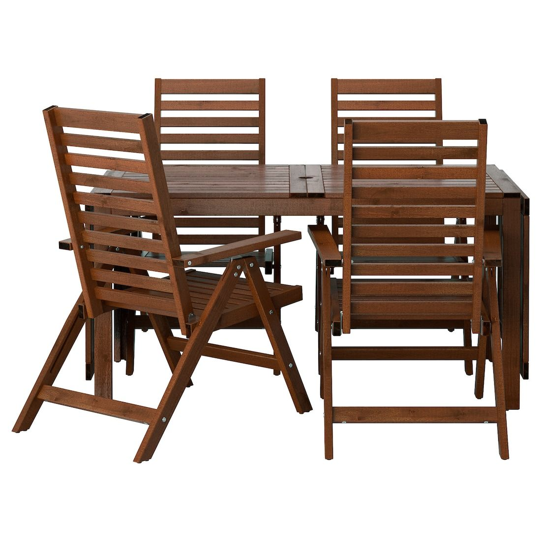 ÄPPLARÖ Table + 4 reclining chairs, outdoor, brown stained