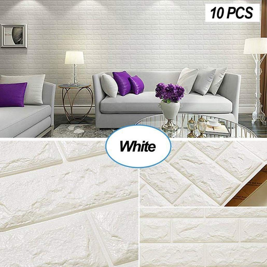 Adhesive Whiite Faux Brick Panels In Accent Wall: Amazon.com: Masione 3D Self-Adhesive Wall Panels Faux Foam