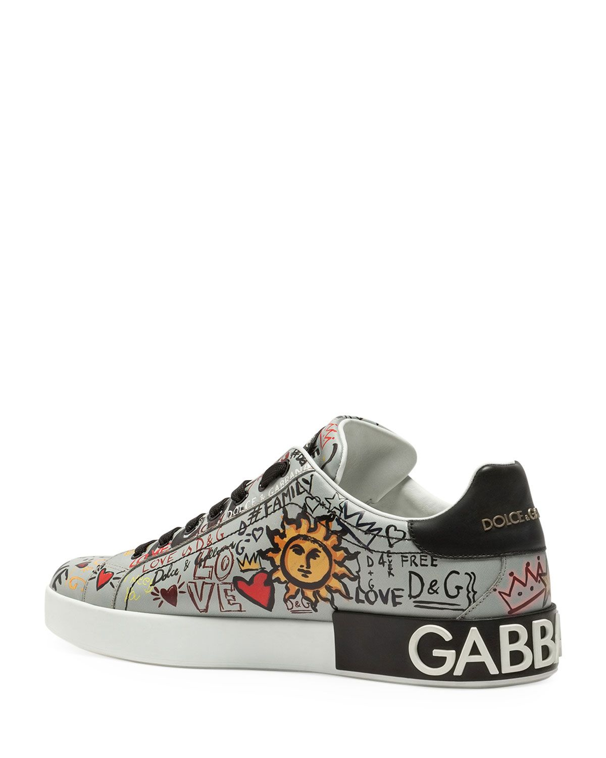 d563bc4f9 Dolce & Gabbana Men's Portofino Graffiti Leather Low-Top Sneakers ...