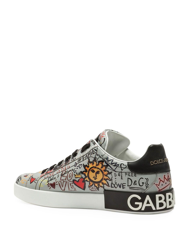 5b85a695a9779 Dolce   Gabbana Men s Portofino Graffiti Leather Low-Top Sneakers ...