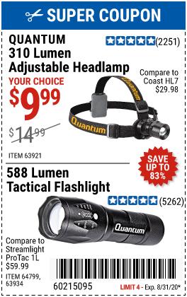 Quantum 310 Lumen Headlamp For 9 99 Harbor Freight Tools Harbor Freight Coupon Quantum