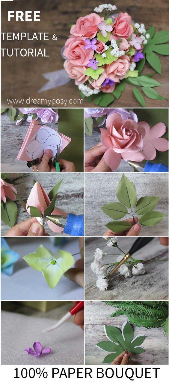 DIY Papier Blumen Hochzeit Bouquets Tutorials jetzt folgen #flowerbouquetwedding