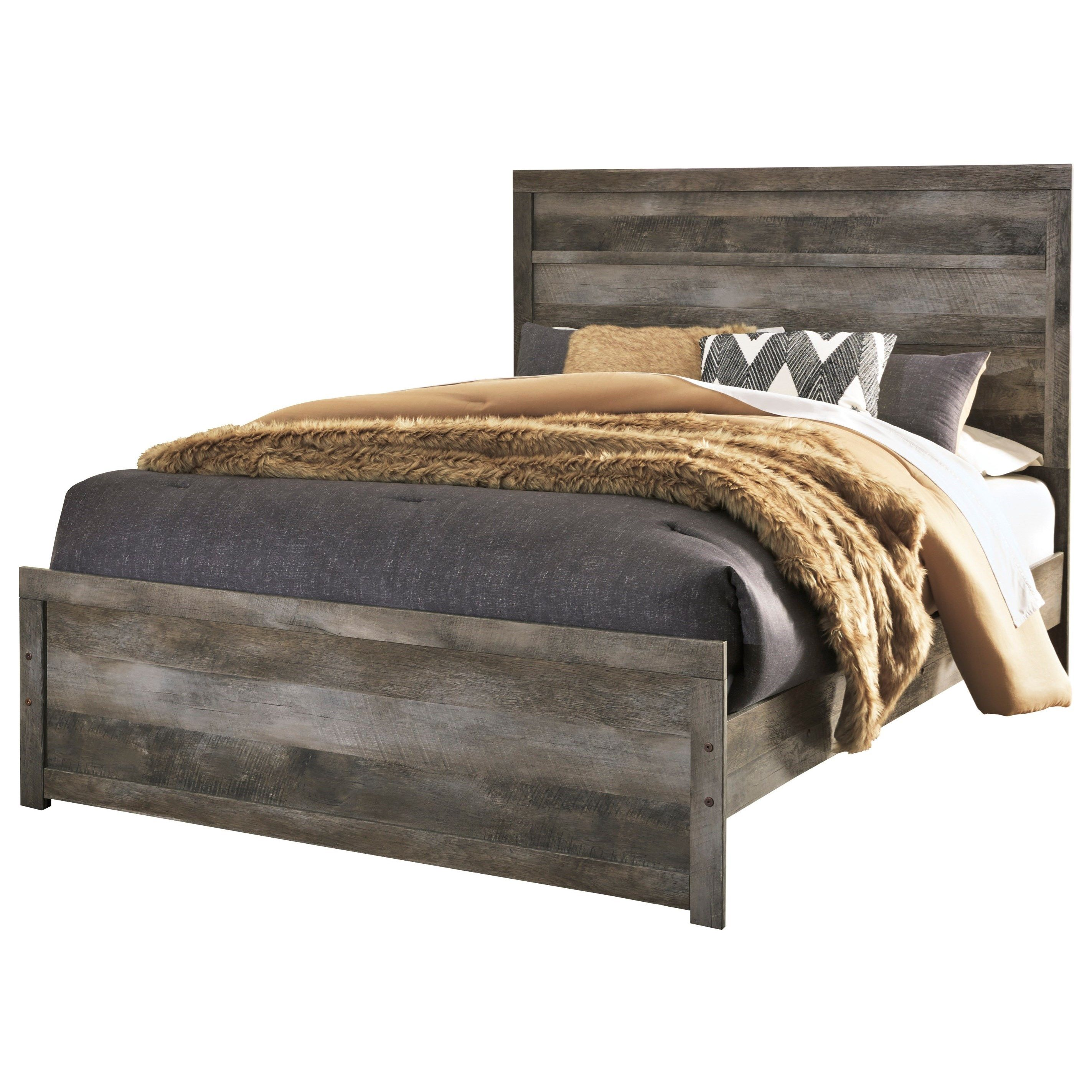 Wynnlow Queen Rustic Plank Effect Panel Bed by Signature