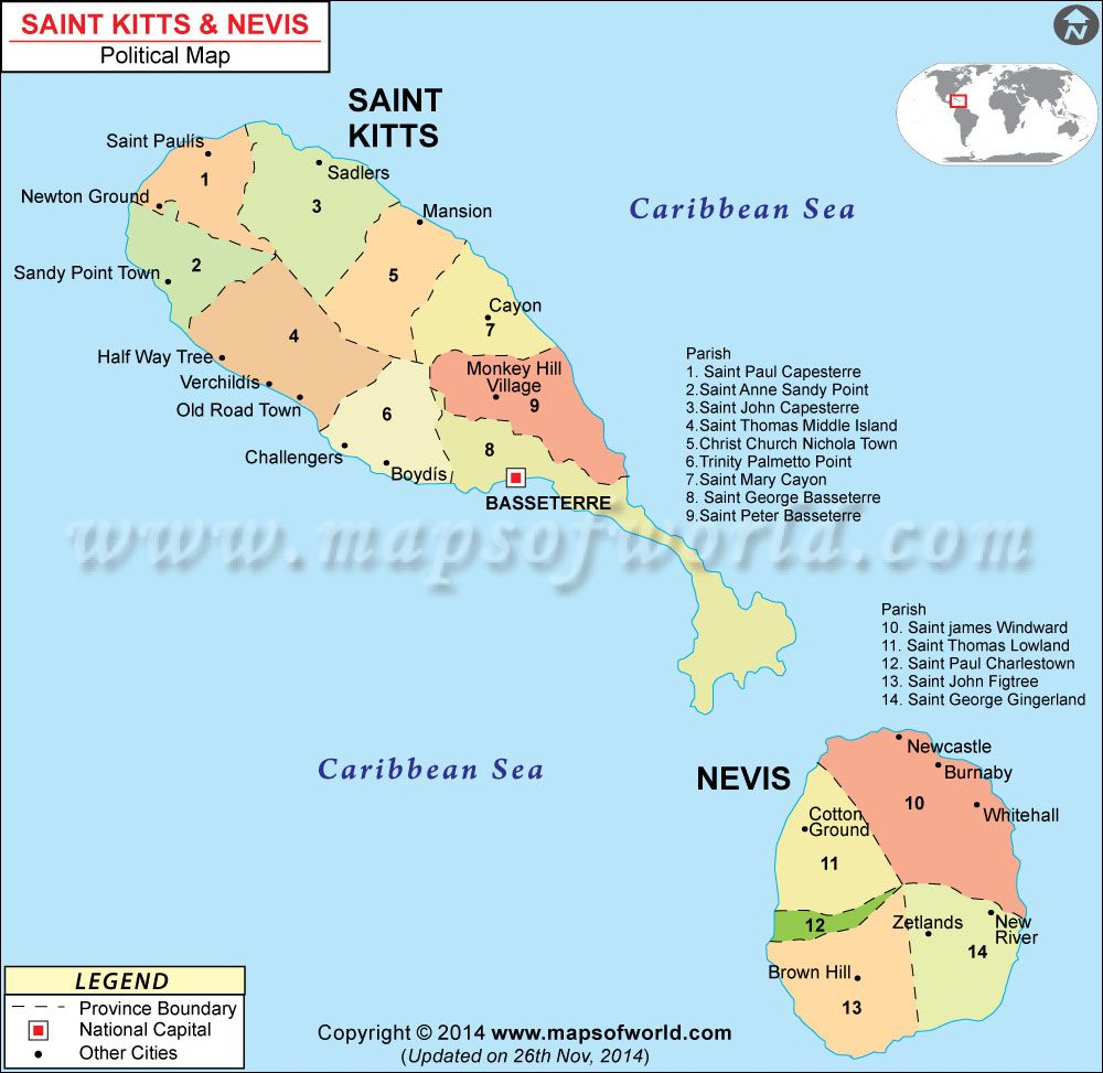 St Kitts and Nevis Map Political Map Pinterest St kitts