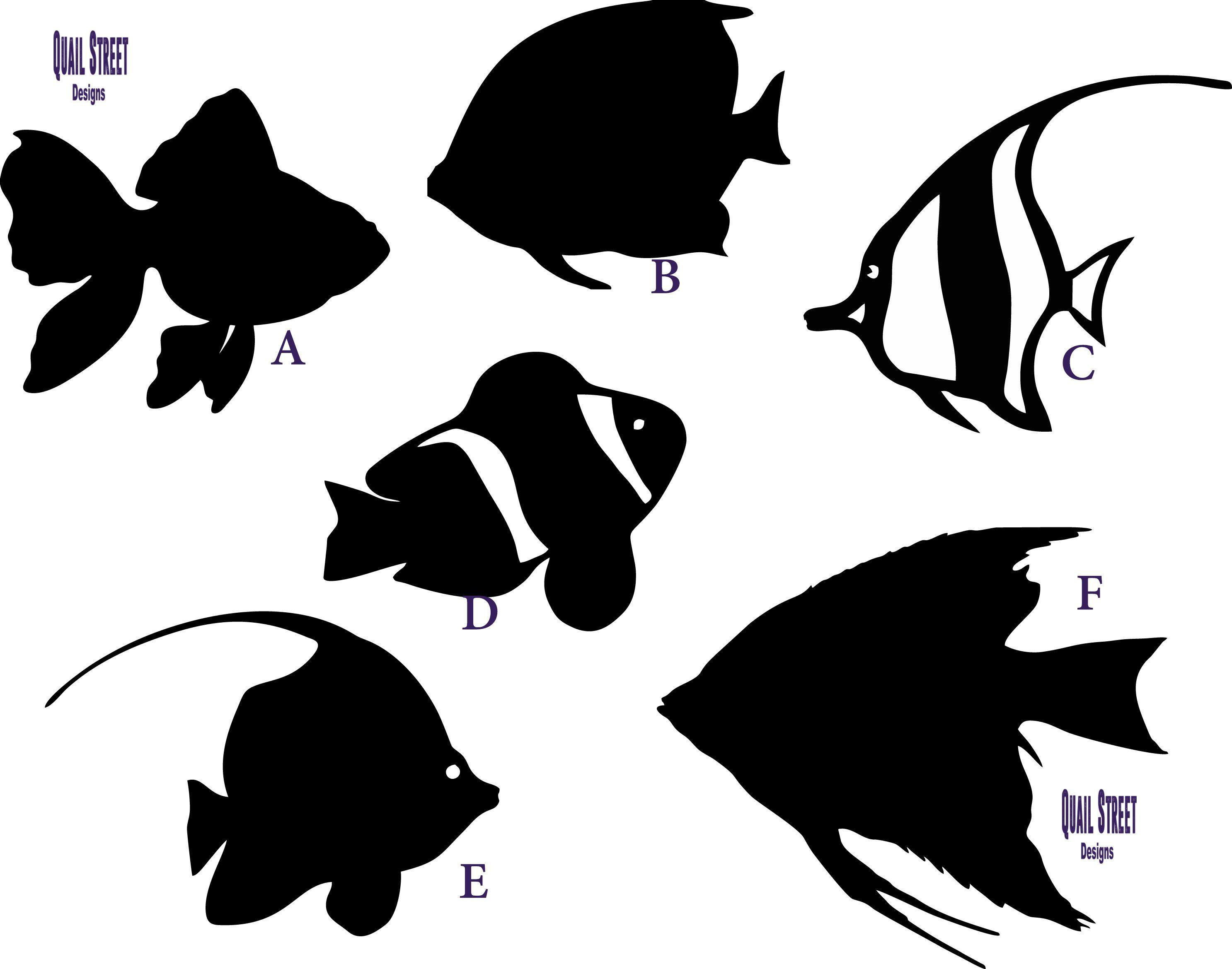Tropical Fish 6 Different Views Vinyl Decal Tropical Fish Vinyl Decals Sea Aquarium