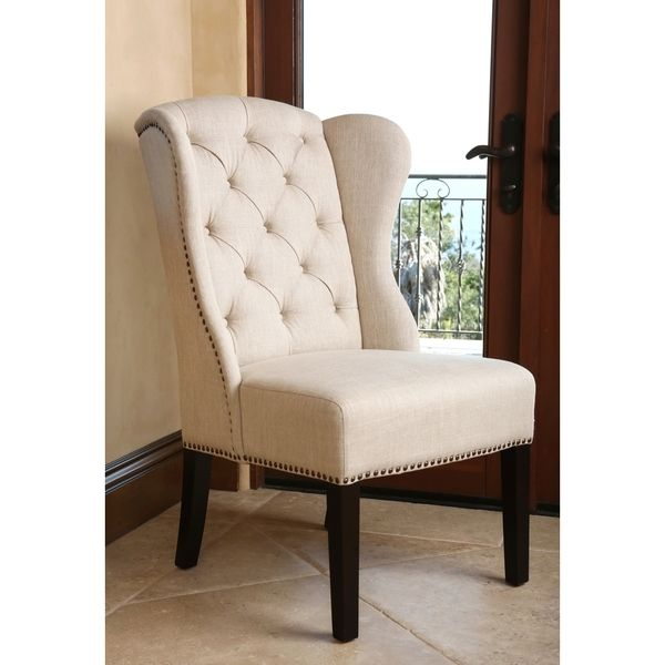 Superb Abbyson Living Sierra Tufted Cream Linen Wingback Dining Chair   Overstock™  Shopping   Great Deals
