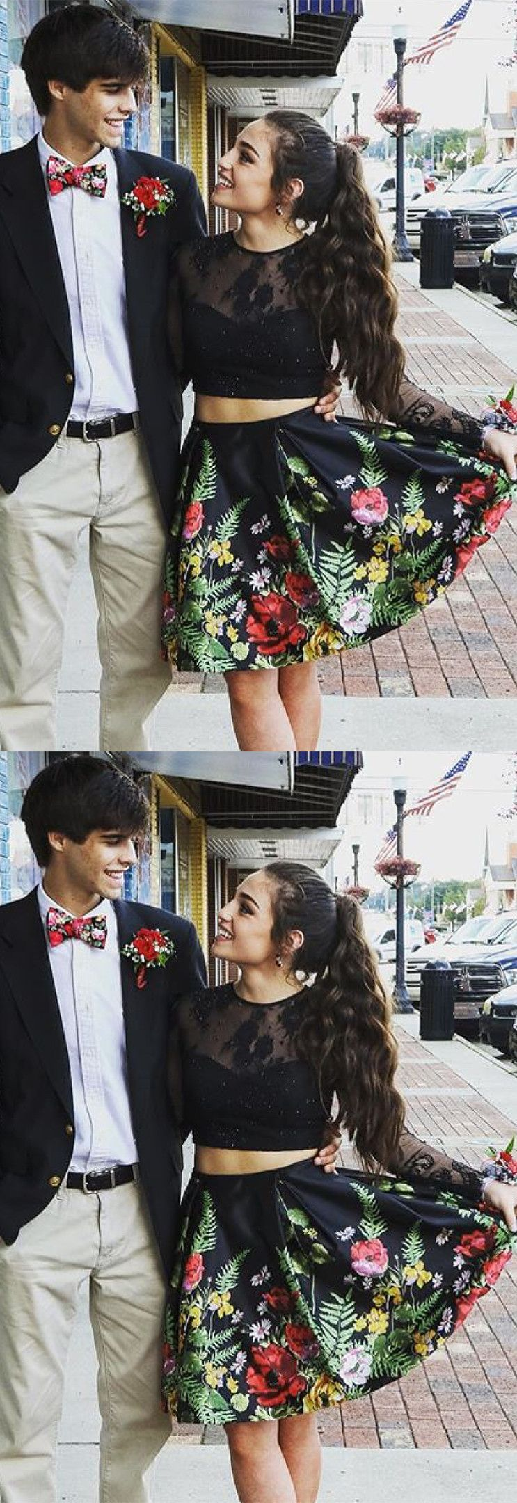 Black floral short homecoming dress elegant long prom dresses