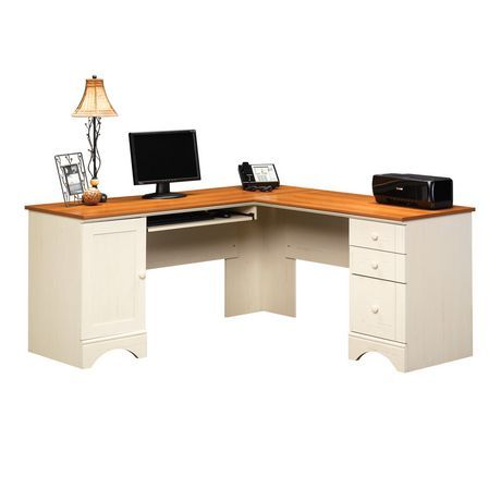 Sauder Harbor View, Corner Computer Desk, Antiqued White finish with  American Cherry accents, - Sauder Harbor View, Corner Computer Desk, Antiqued White Finish With