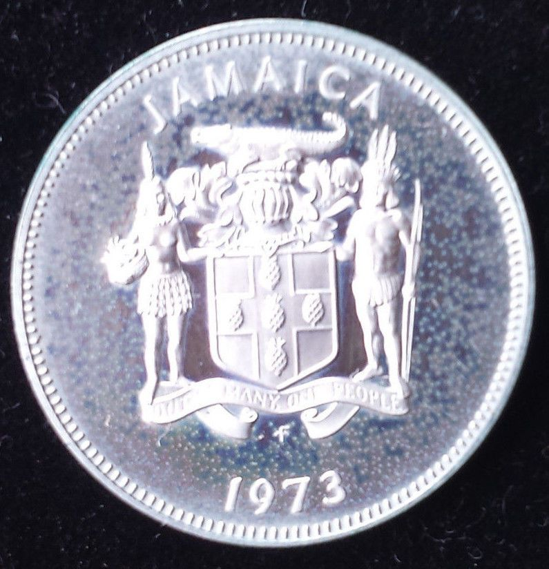 1973 Jamaica 20 Cent Proof Uncirculate Coin Only 17k Proofs Minted Sharp Detail Coins Mint Detail