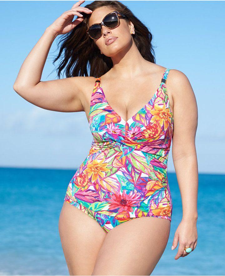 lauren ralph lauren plus size printed one-piece swimsuit web id