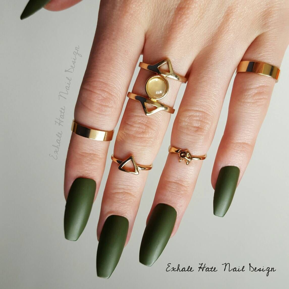 Olive Military Army Green Matte/Glossy Fake Press On Nails ...