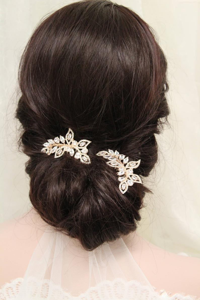 2 Small Rose Gold Hair Combs Bridal Hair Comb Vintage Style Etsy In 2020 Bridal Hair Comb Vintage Gold Bridal Hair Comb Rose Gold Hair Comb