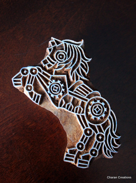 Horse Wooden Block Stamp Horse wooden printing block Horse Indian Textile Stamp Horse Block Printing Stamp Hand Carved Horse Stamp