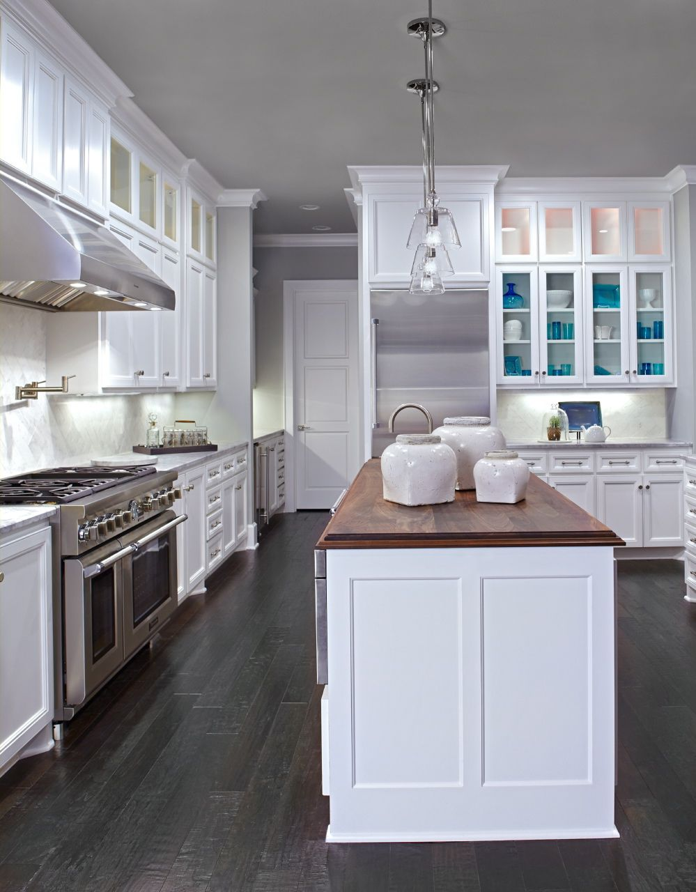 White Cabinets Dark Wood Floors Wood Countertop In Walnut On Center Island Antique White Kitchen White Kitchen Cabinets White Kitchen Remodeling