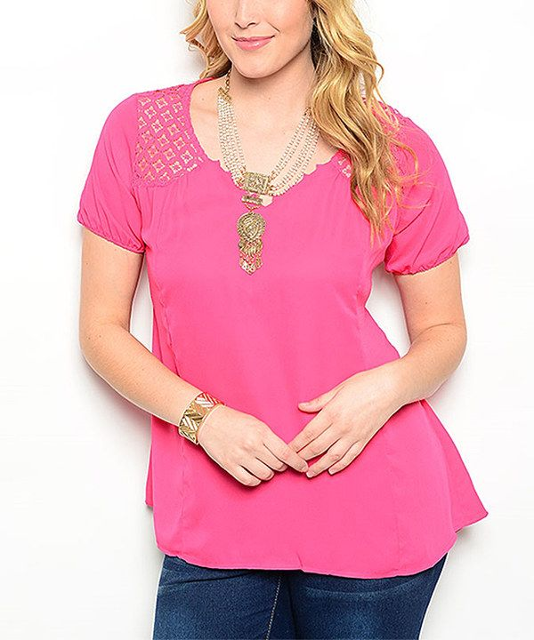 Look at this Pink Lace Cutout Top - Plus on #zulily today!