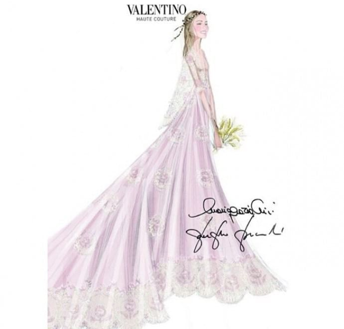 The House of Valentino is pleased to announce that Beatrice Borromeo Arese Taverna wore a Valentino Haute Couture dress designed by Creative Directors, Maria Grazia Chiuri and Pierpaolo Piccioli, especially for her civil wedding with Pierre Casiraghi on July 25th at the Prince's Palace of Monaco. The wedding gown is a pale pink and long silk chiffon long cape dress, an evolution of look 30-A16 from the Spring/Summer 2015 collection.
