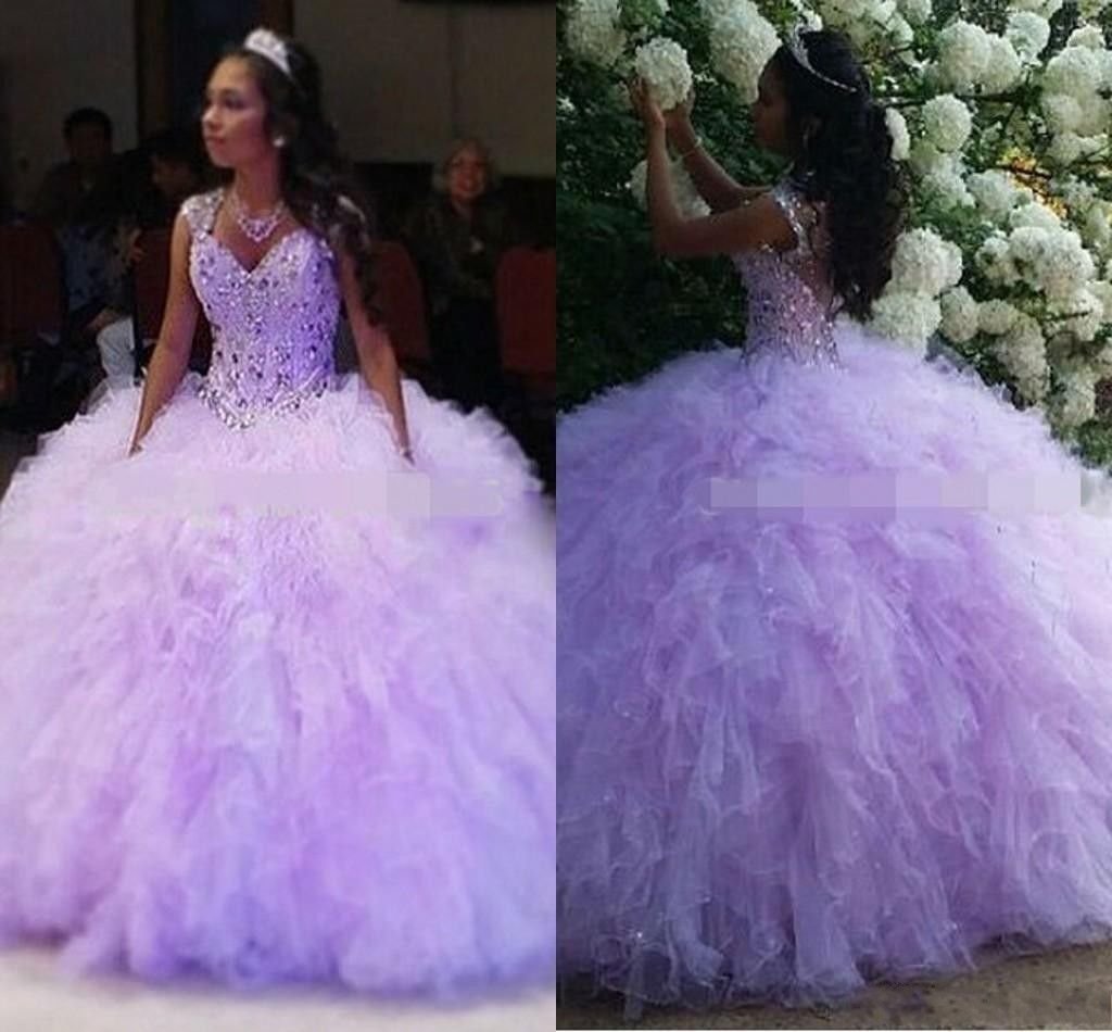 Beaded Lilac Formal Prom Party Pageant Quinceanera Dress Ball Gown ...