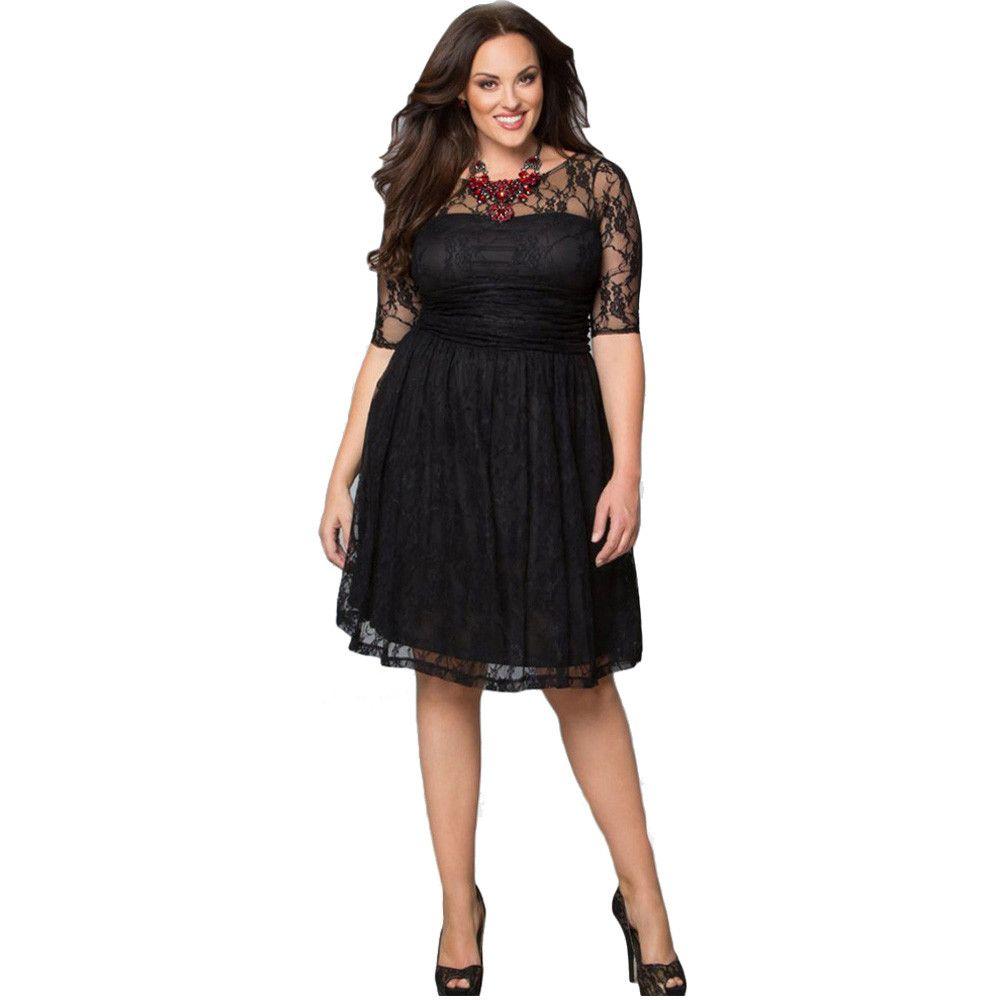 Dresses Big Sizes Retro Short dress Women Fashion Casual Lace O-Neck ...