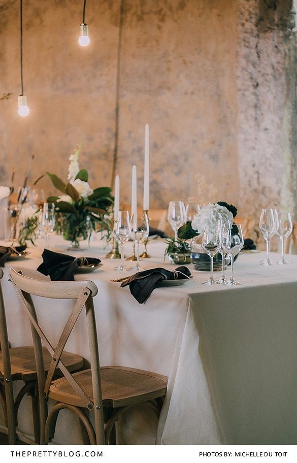 Green and white wedding tablescape inspiration with tall white candles and glasses & Relaxed Sophistication on Their Big Day | Wedding Wedding and ...