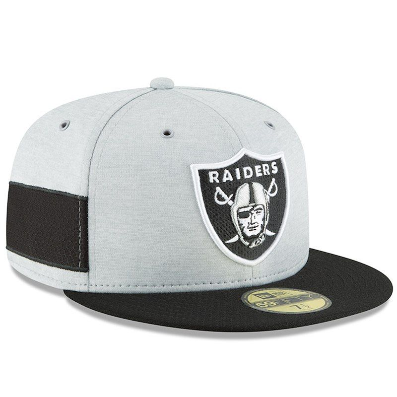 0808eeb6c Oakland Raiders New Era 2018 NFL Sideline Home Official 59FIFTY Fitted Hat  – Heather Gray Black