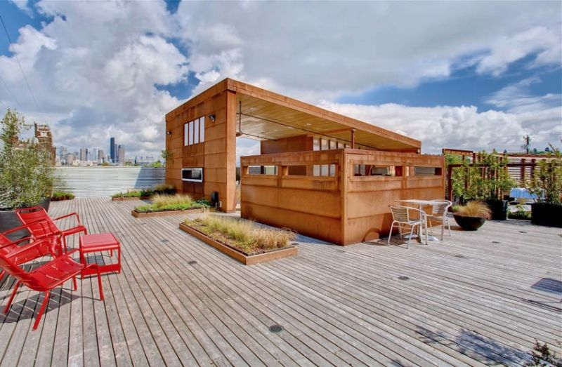 3000 Sq Ft Rooftop Deck 1000 Sq Ft Covered With Built In Heaters Fireplace Seating Satellite Bar With Video Outdoor Living Deck Deck Building Cost Deck