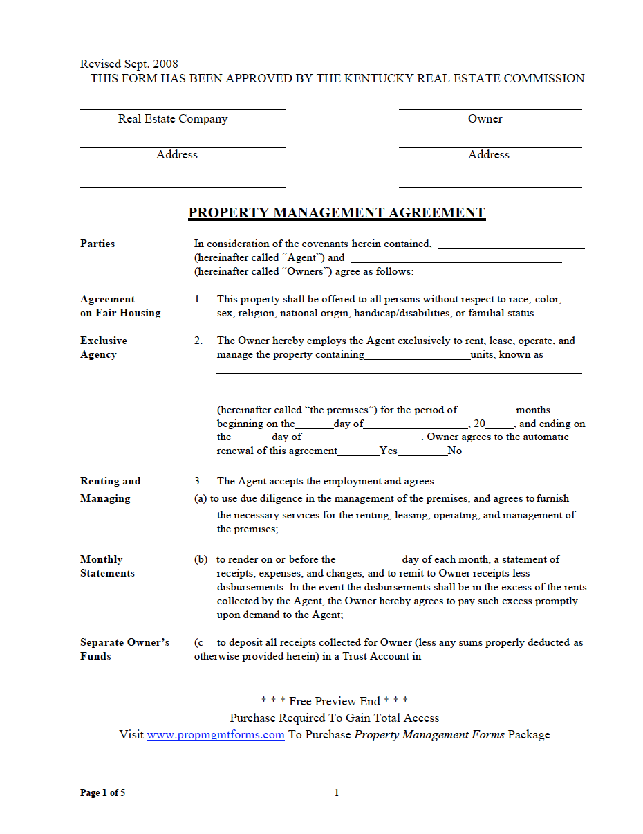Kentucky Property Management Agreement Property Management Agreement Management