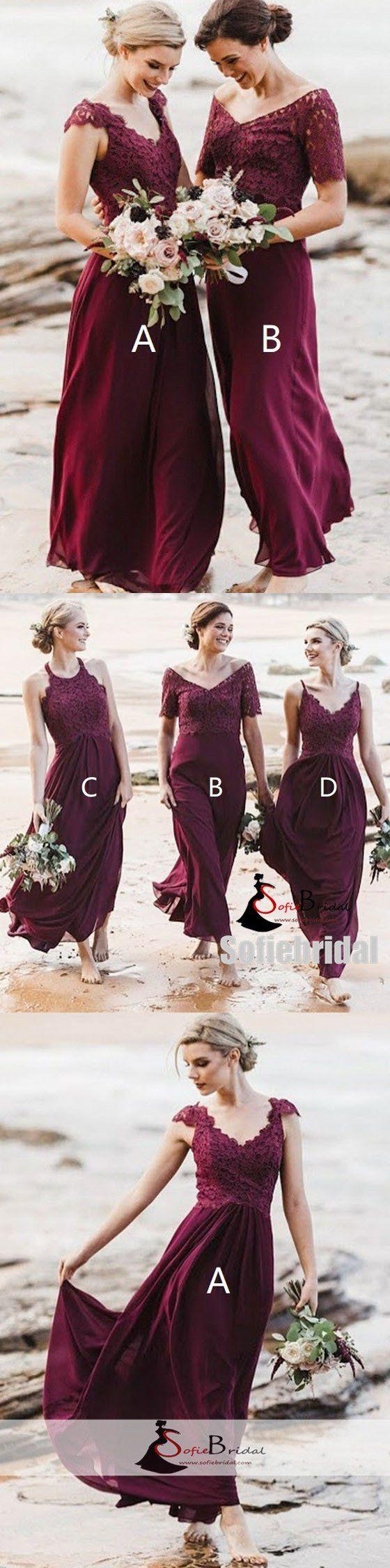 Destination wedding guest dresses  Mismatched Chiffon Lace Bridesmaid Dresses Beach Wedding Guest