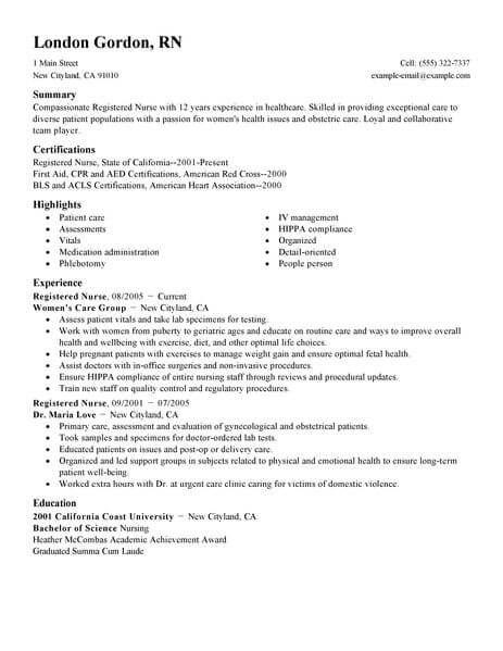 resume examples registered nurse    examples  nurse