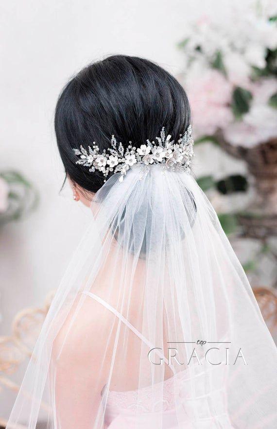 Flower Bridal hairpiece Wedding headpiece Bridal headband Bridal hair piece Bridal headpiece Wedding Back Headpiece Wedding hair accessories #bridalheadpieces