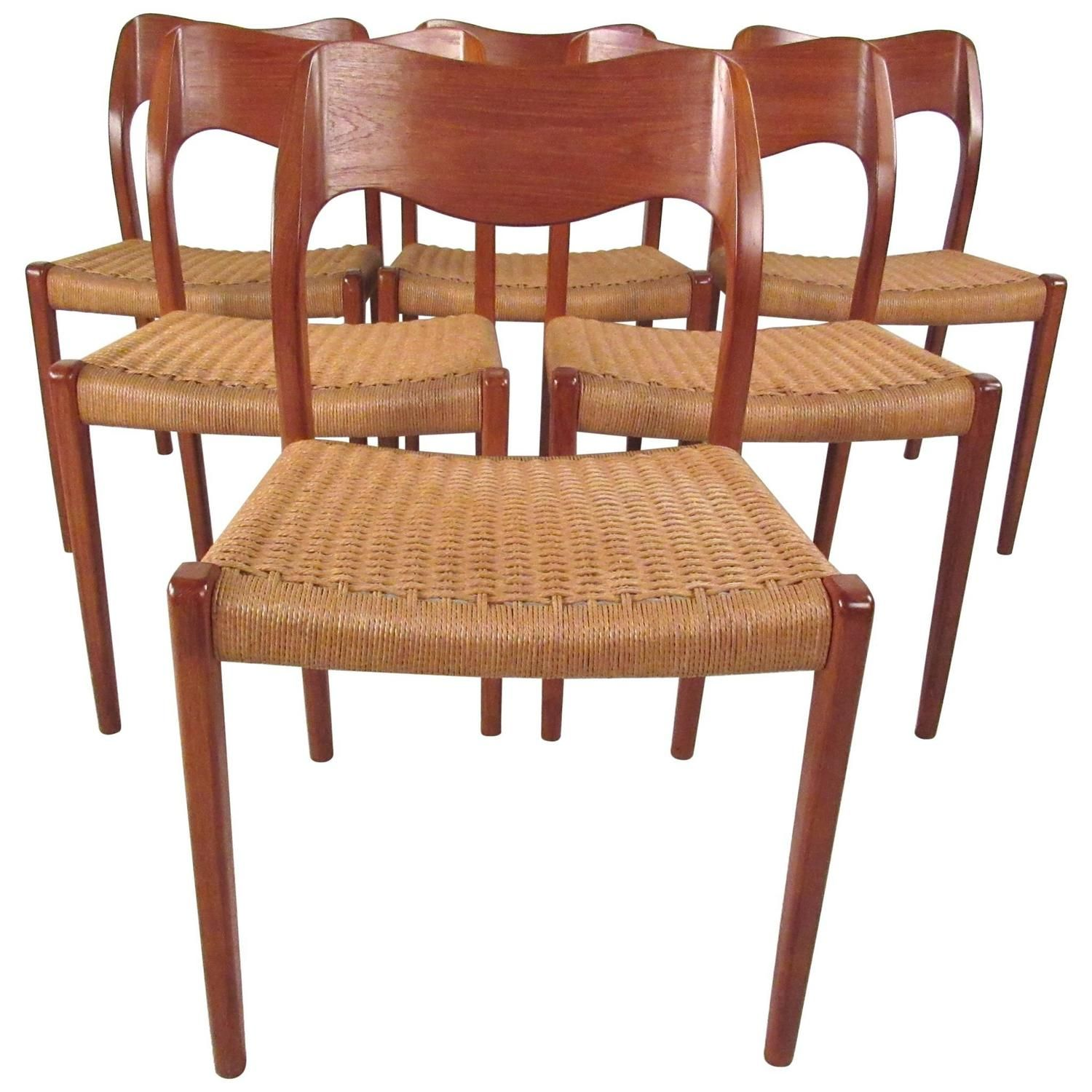 set of six niels moller model 71 teak dining chairs teak dining